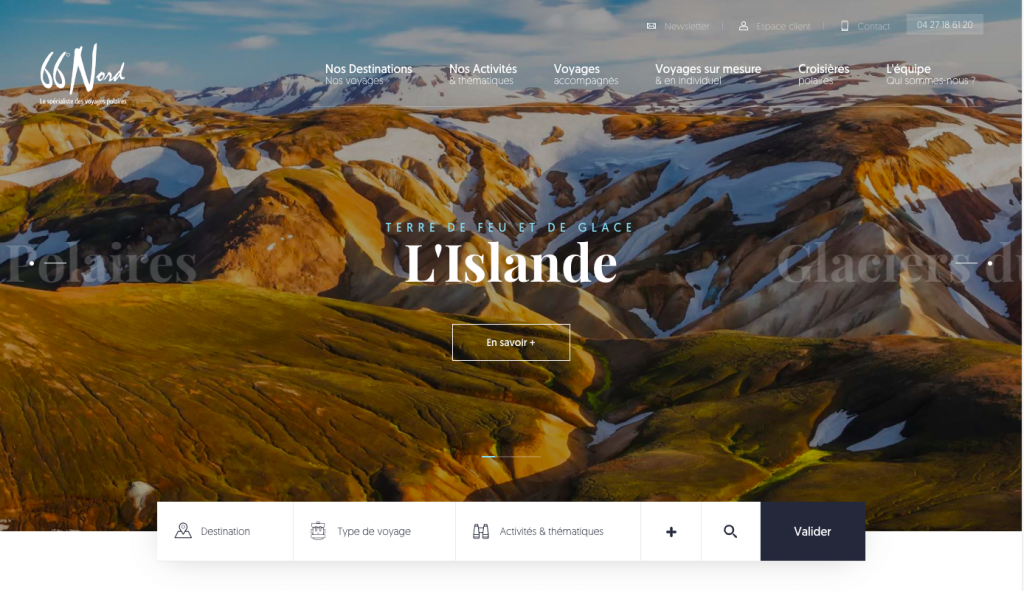 66° nord site web d'exploration du grand nord - webdesign 2019